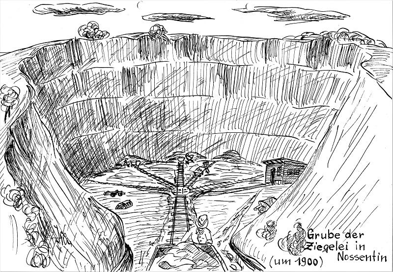 So könnte der Tagebau bei Nossentin um 1900 ausgesehen haben. Zeichnung: Helmuth Hutschikovsky