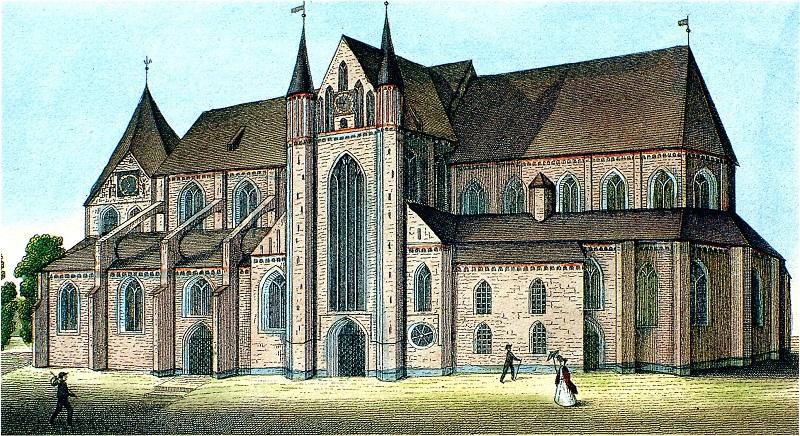 Historische Abbildung des Schweriner Doms aus dem 19. Jahrhundert. Damals war der 117,5 Meter hohe Turm noch nicht gebaut. Abbildung: Archiv Nordkurier