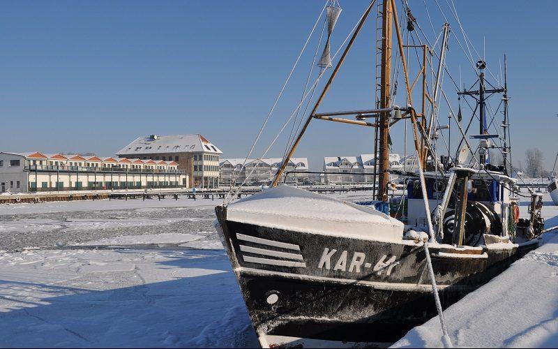 Ostseebad Karlshagen auf der Insel Usedom im Winter.